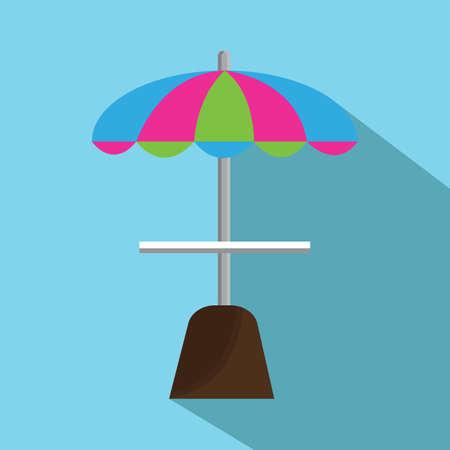 seashores: beach umbrella and table