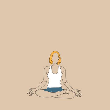 lotus pose: girl practising yoga in lotus pose