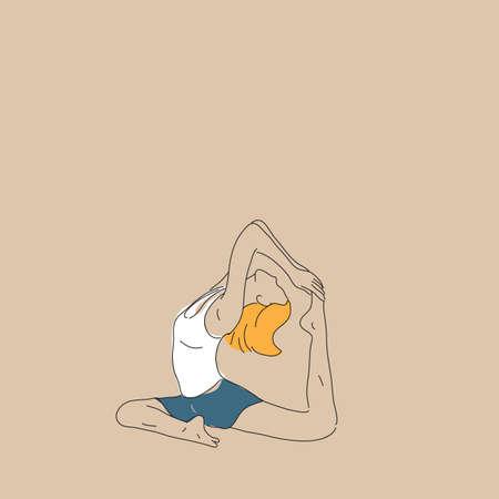 girl practising yoga in one-legged king pigeon pose Vettoriali