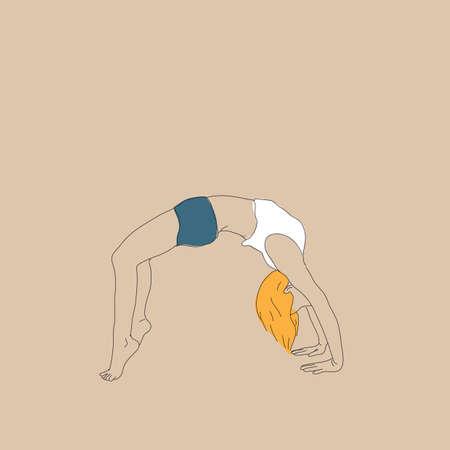 ragazza praticare lo yoga in posa ruote