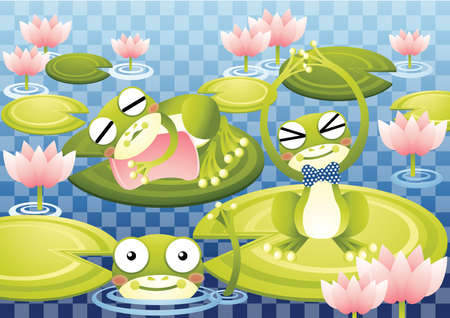 yawning: frogs in the lake
