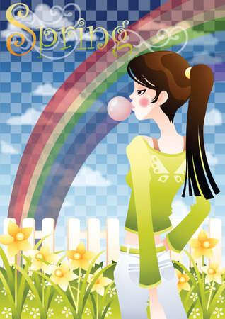 backyard: girl standing in the backyard on rainbow background Illustration