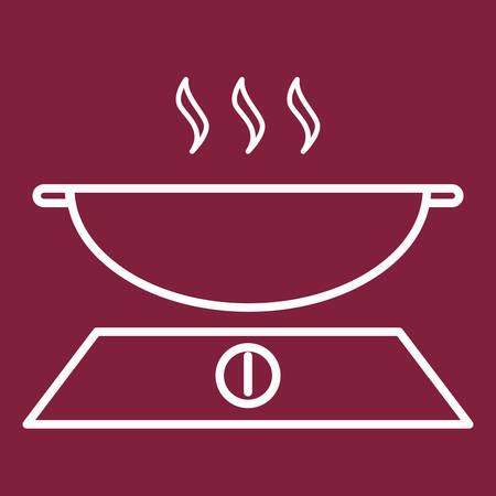 stove: wok on stove Illustration