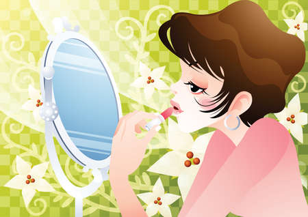 applying lipstick: woman applying lipstick Illustration