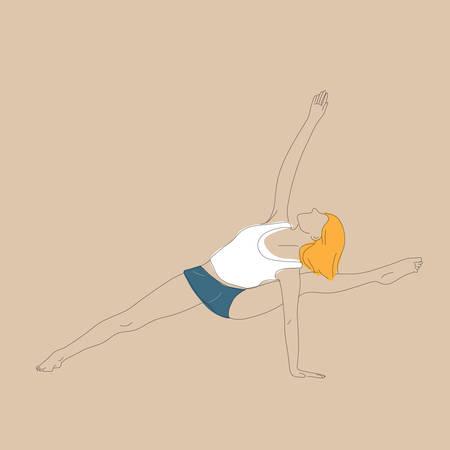variation: girl practising yoga in standing pose variation Illustration