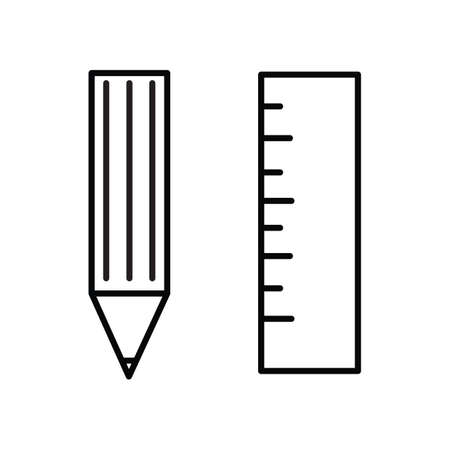centimeters: pencil and ruler Illustration