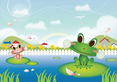 garden pond: frogs in pond