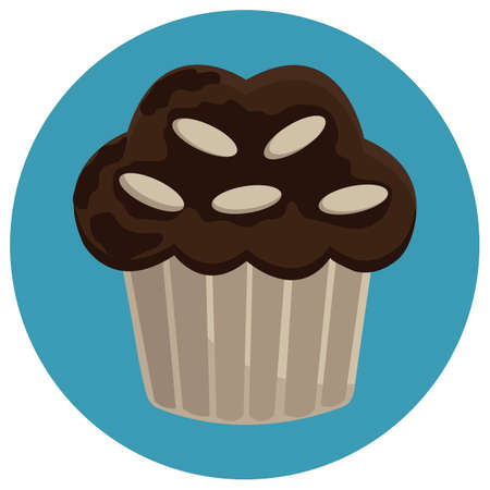 chocolate cupcake: white chocolate on chocolate cupcake Illustration