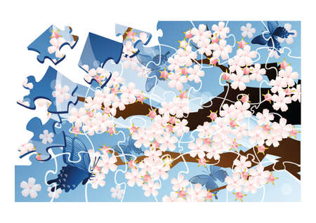 cherry blossom tree: jigsaw puzzle with cherry blossom tree