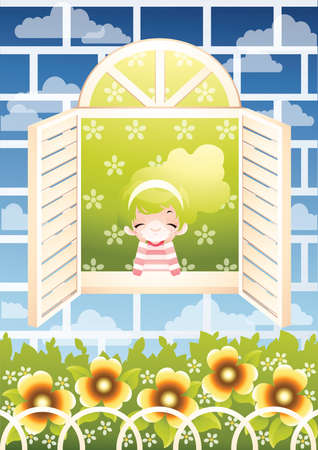 view window: girl enjoying outside view from her window Illustration