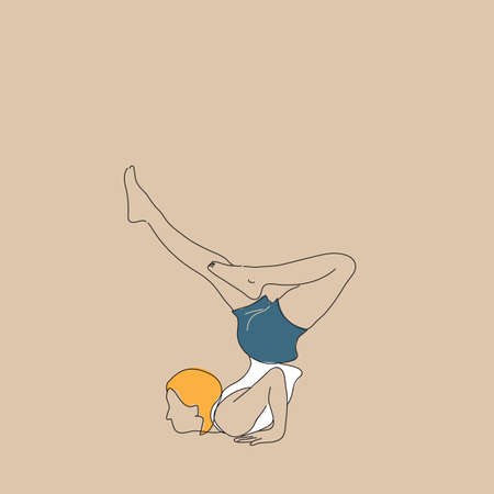 inversion: girl practising yoga in inversion sequence