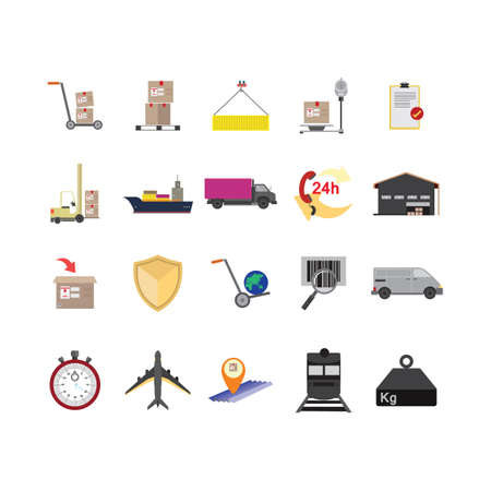 twenty four hours: collection of logistic icons