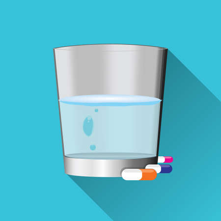 meds: glass of water with medicines