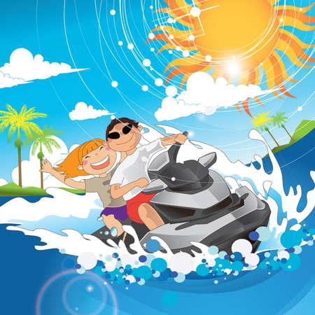 jet ski: couple having fun on jet ski