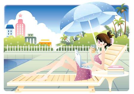 poolside: girl relaxing near poolside