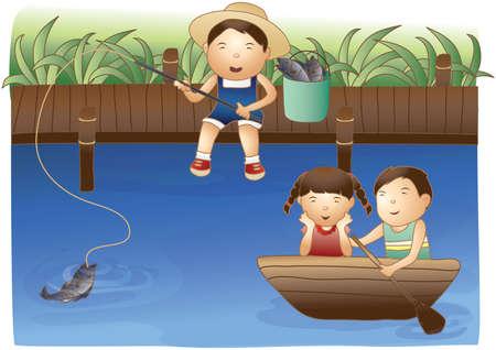 water weed: kids fishing in lake