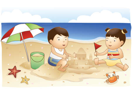 sand castle: kids building sand castle