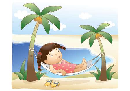 hammock: girl lying on hammock on beach