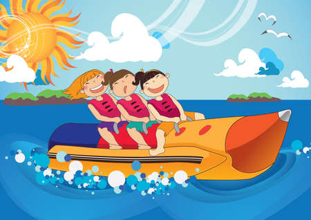 getaways: girls having fun at sea Illustration