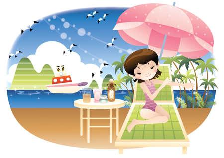 applying: girl applying sunscreen on beach
