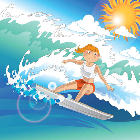 girl surfing on high tides