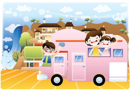 outing: family outing Illustration