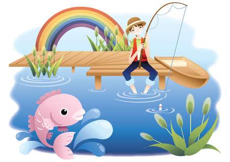 jongen vissen in een vijver