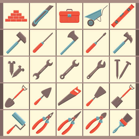 hand trowels: set of construction icons