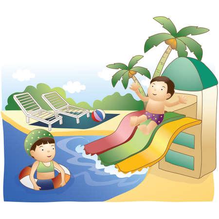 kids having fun: kids having fun in waterpark