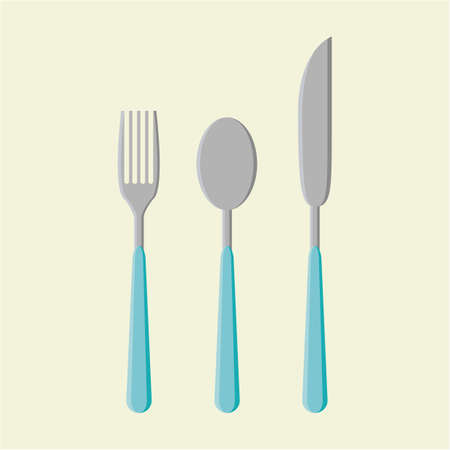 fork and spoon: fork spoon and knife Illustration