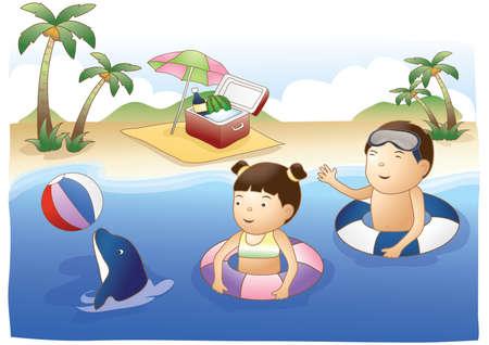 kids having fun: kids having fun in the sea with dolphin