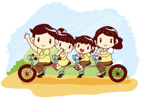 tandem bicycle: family riding tandem bicycle