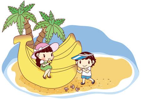 kids eating: kids eating giant bananas on beach