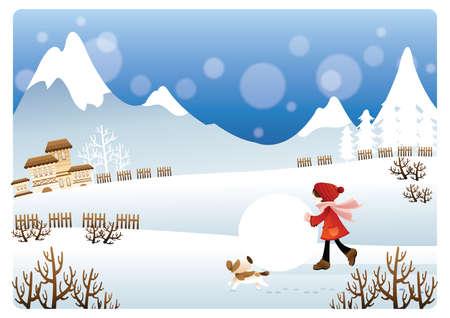 boule de neige: fille jouant avec boule de neige