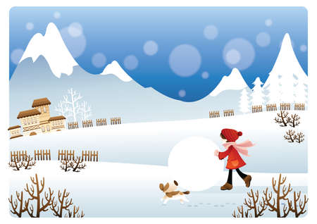 snowball: girl playing with snowball Illustration