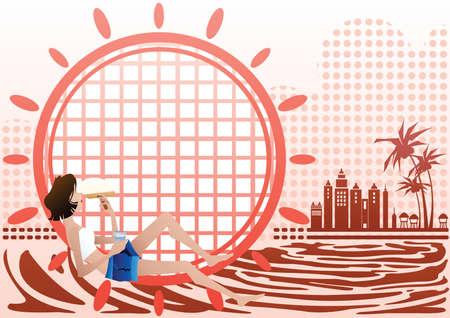 shoreline: girl relaxing on the sea Illustration