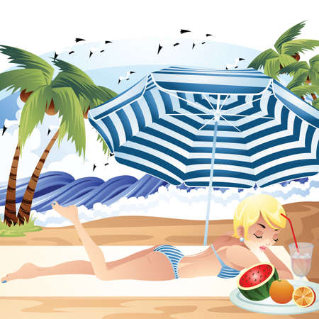 watermelon woman: woman relaxing under the beach umbrella Illustration