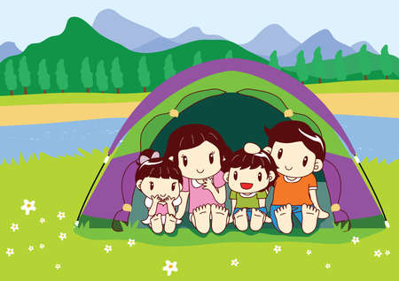 campaigning: family sitting in camp tent Illustration