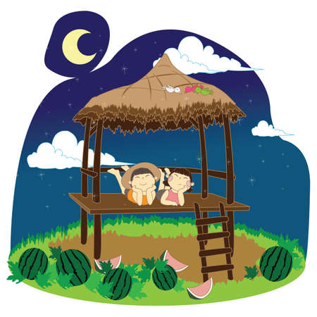 shed: kids relaxing on farm shed at night Illustration
