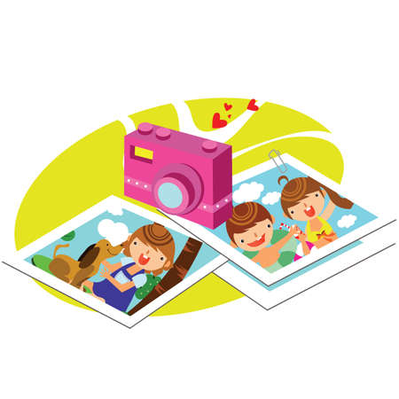 photographs: camera with photographs Illustration