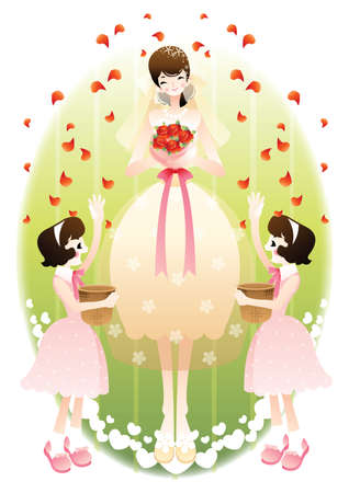 throwing: children throwing flower petals at the bride Illustration