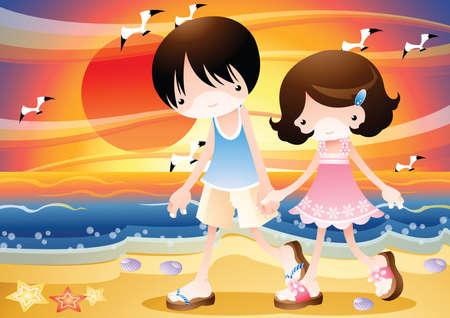 stroll: a couple walking along the beach Illustration