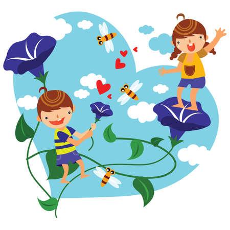 glory: children playing amongst morning glory flowers