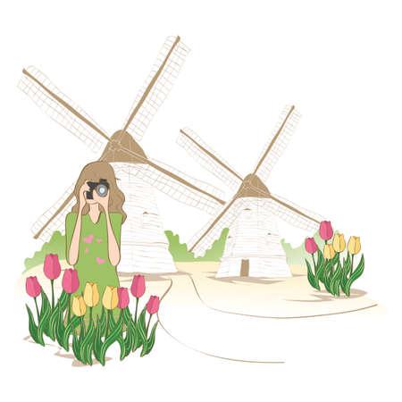 dutch: woman at dutch windmill