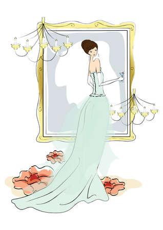 looking in mirror: bride looking in mirror