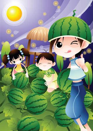amongst: children amongst watermelons Illustration