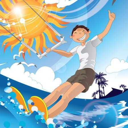 tress: boy enjoying water ski