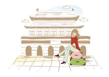 Forbidden City: woman at forbidden city