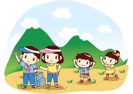 mummy: family heading for picnic