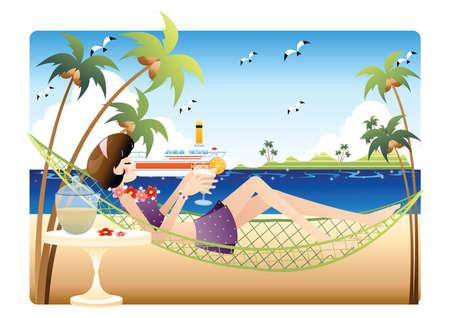 shoreline: girl resting on a hammock by the beach